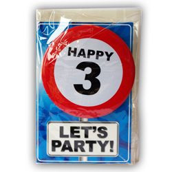 Happy age card 3 jaar met button
