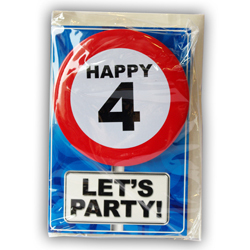 Happy age card 4 jaar met button