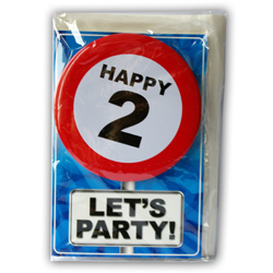 Happy age card 2 jaar met button