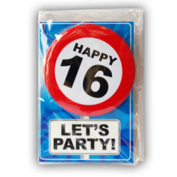 Happy age card 16 jaar met button