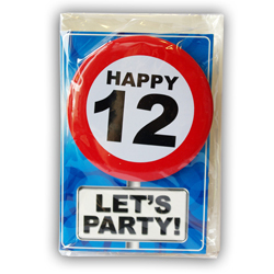 Happy age card 12 jaar met button