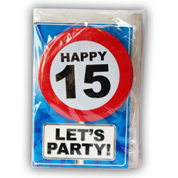 Happy age card 15 jaar met button