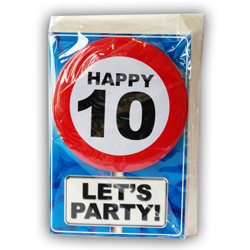 Happy age card 10 jaar met button