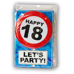 Happy age card 18 jaar met button