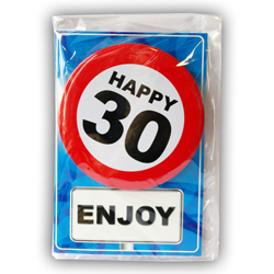 Happy age card 30 jaar met button