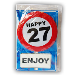 Happy age card 27 jaar met button