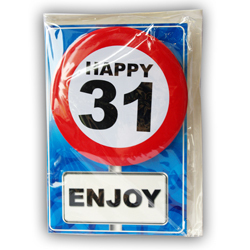 Happy age card 31 jaar met button