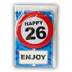 Happy age card 26 jaar met button