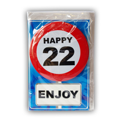 Happy age card 22 jaar met button