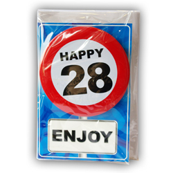 Happy age card 28 jaar met button