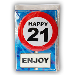 Happy age card 21 jaar met button