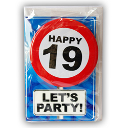 Happy age card 19 jaar met button