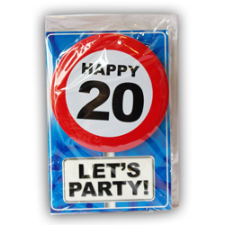 Happy age card 20 jaar met button