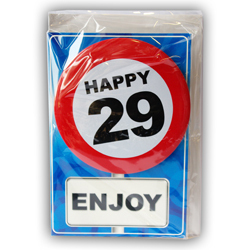 Happy age card 29 jaar met button