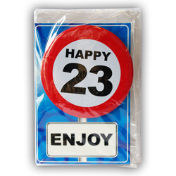 Happy age card 23 jaar met button