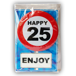 Happy age card 25 jaar met button