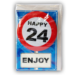 Happy age card 24 jaar met button