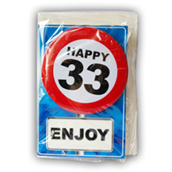 Happy age card 33 jaar met button