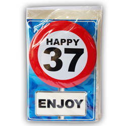 Happy age card 37 jaar met button