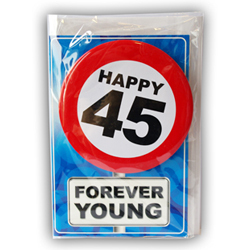 Happy age card 45 jaar met button