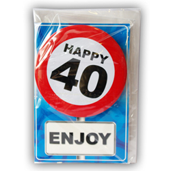 Happy age card 40 jaar met button