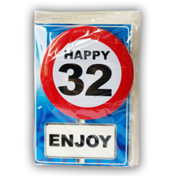 Happy age card 32 jaar met button
