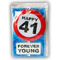 Happy age card 41 jaar met button