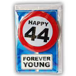 Happy age card 44 jaar met button
