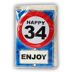 Happy age card 34 jaar met button