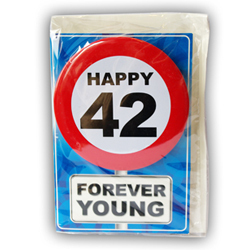 Happy age card 42 jaar met button
