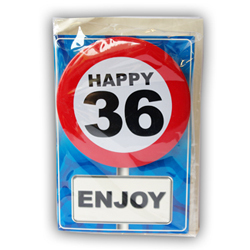 Happy age card 36 jaar met button