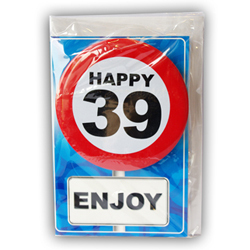 Happy age card 39 jaar met button