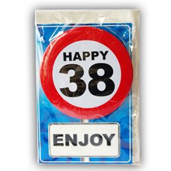 Happy age card 38 jaar met button