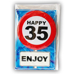 Happy age card 35 jaar met button