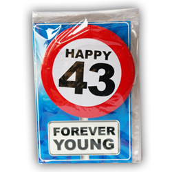 Happy age card 43 jaar met button