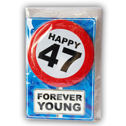 Happy age card 47 jaar met button