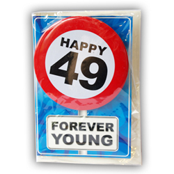 Happy age card 49 jaar met button
