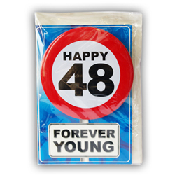 Happy age card 48 jaar met button