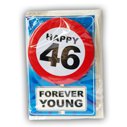 Happy age card 46 jaar met button
