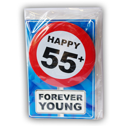 Happy age card 55 jaar met button