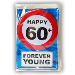 Happy age card 60 jaar met button