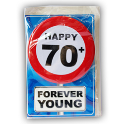 Happy age card 70 jaar met button