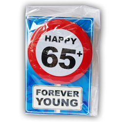 Happy age card 65 jaar met button