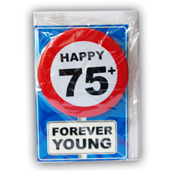 Happy age card 75 jaar met button