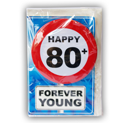 Happy age card 80 jaar met button